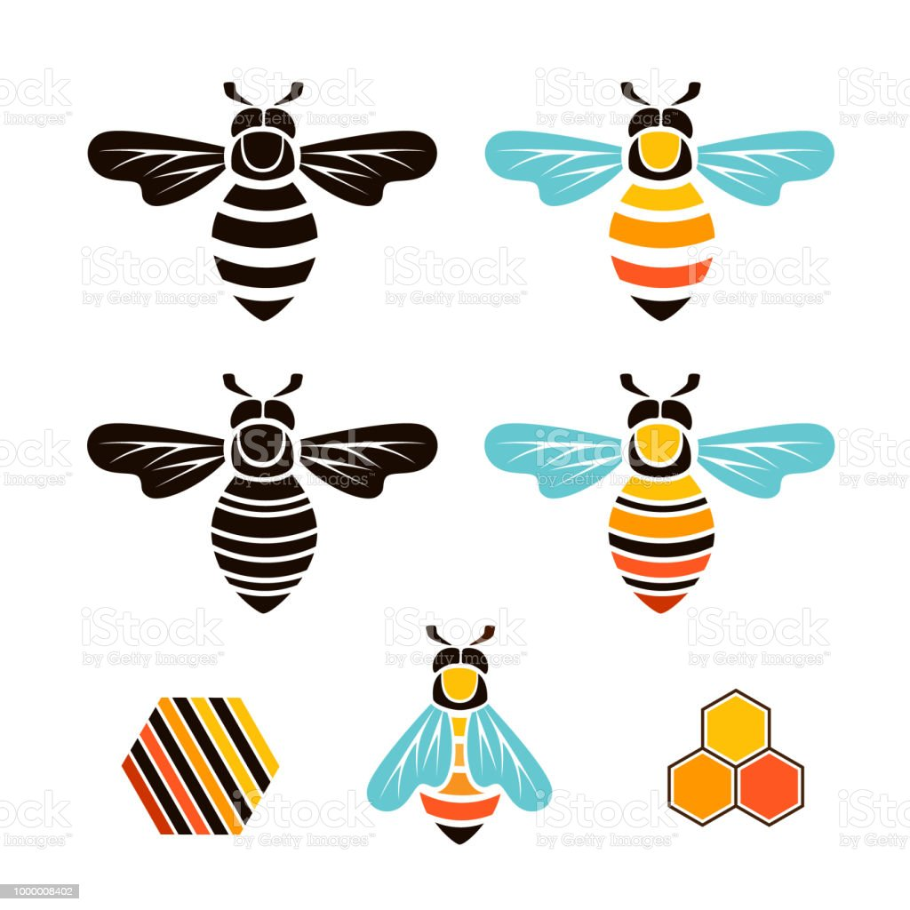 Bee And Hive Vector Graphic Isolated Design Elements Royalty Free