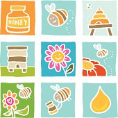 Bee and honey doodle icon set