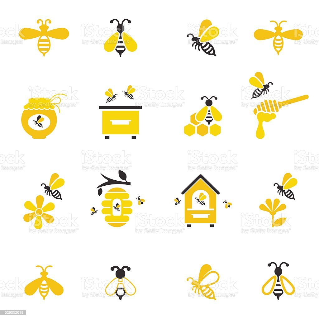 Bee and honey icon set. – artystyczna grafika wektorowa