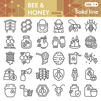 Bee and honey line icon set, beekeeping symbols collection or sketches. Bee linear style signs for web and app. Vector graphics isolated on white background.
