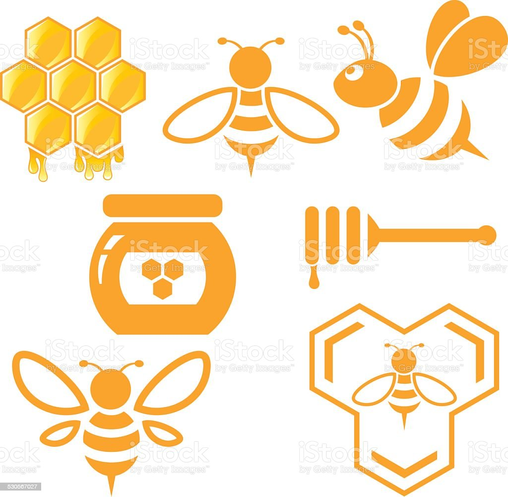 Bee and Honey set vector art illustration