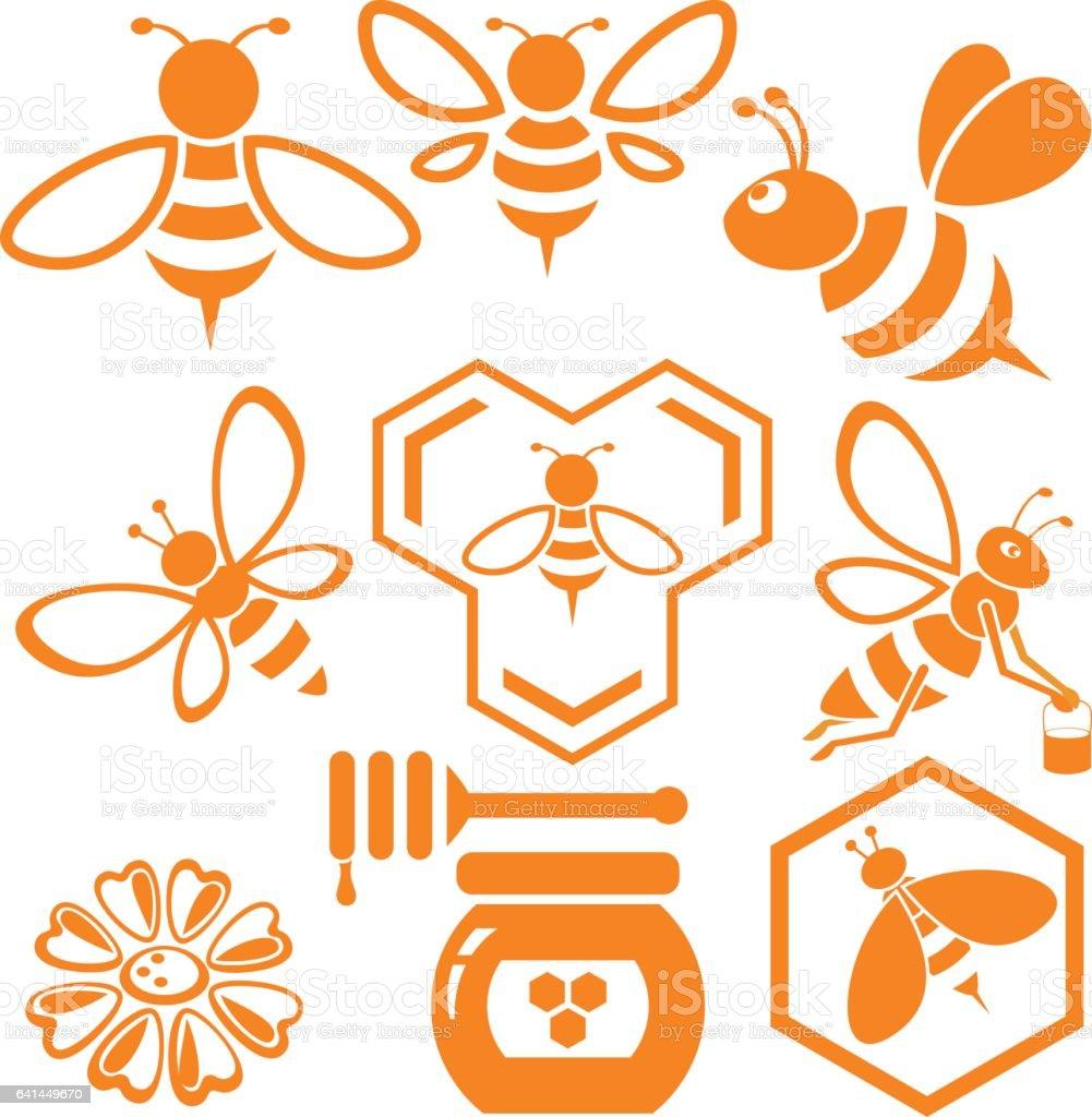 Bee and Honey vector art illustration