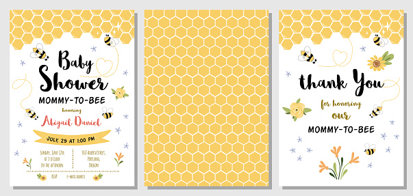 Bee Baby Shower invitation templates set Mommy to bee, sweet, honey, thank you card, yellow pattern banner. Vector