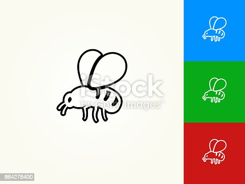 Bee Black Stroke Linear Icon Stock Vector Art & More Images of Animal Body Part 864278400