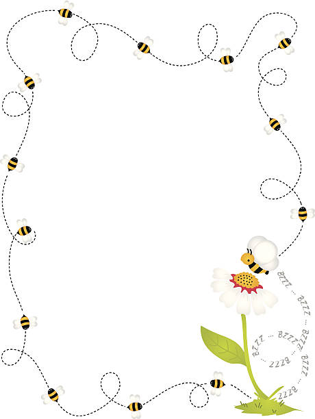 Bee Border Frame Scalable vectorial image representing a bee border frame, isolated on white. EPS 10. bee borders stock illustrations
