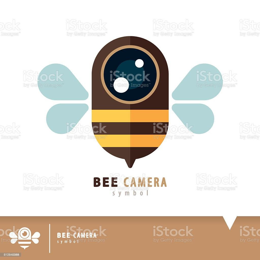 Bee camera symbol icon vector art illustration
