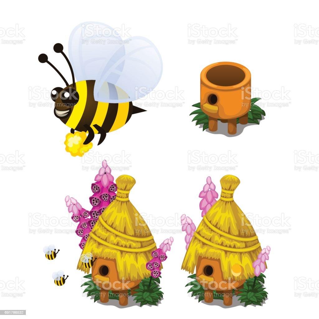 con miel de abeja y abeja colmena en estilo de dibujos animados illustracion libre de derechos