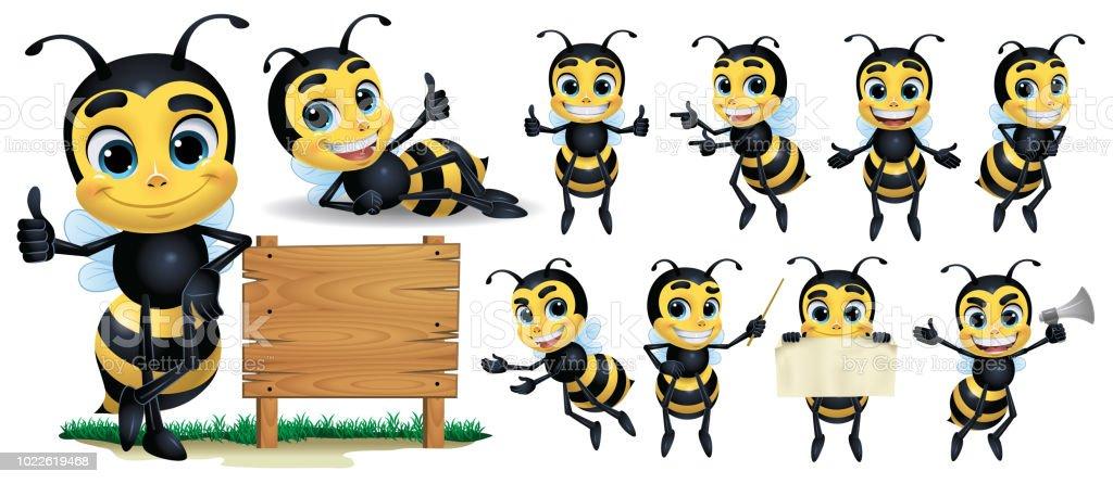 Biene-Cartoon Charakter mit 10 Poses_Vector Illustration EPS 10 – Vektorgrafik