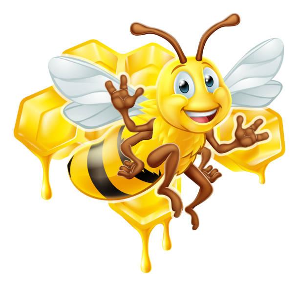 bee cartoon character with honey - alphabet clipart stock illustrations