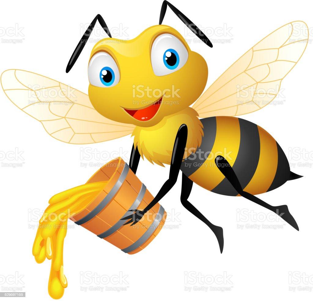 abeille dessin anim u00e9 avec du miel bucket cliparts beehive vector images honey bee vector image
