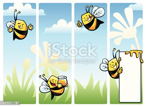 Four vector illustrated bee characters on vertical banners. Simple gradients and blends used. Includes print-optmized CMYK native Freehand and Illustrator files, besides high & low resolution screen oriented RGB .jpgs. Almost imperceptible color shift between both systems.