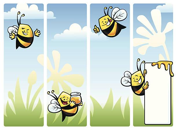 Bee Character Set vector art illustration