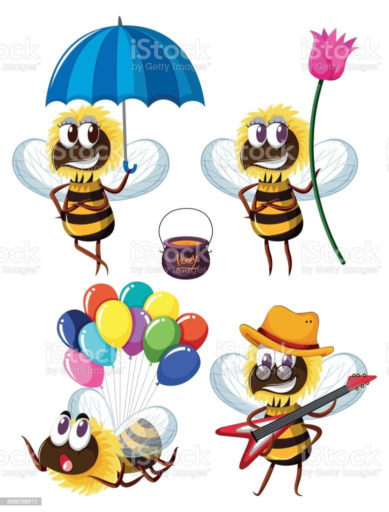 Bee characters in different actions vector art illustration