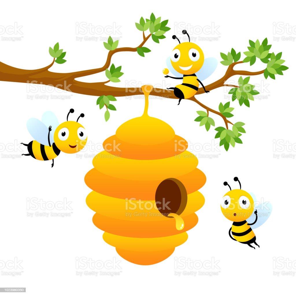 Bee characters. Vector cartoon mascot design isolated vector art illustration