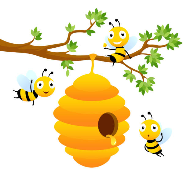Bee characters. Vector cartoon mascot design isolated Bee characters. Vector mascot design isolated. Illustration of hive bee hanging on branch tree, honey sweet beehive stock illustrations