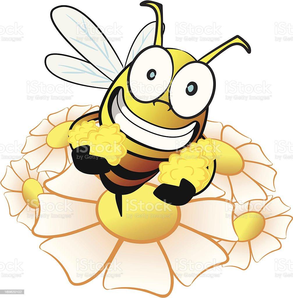 Bee collecting nectar cartoon vector art illustration