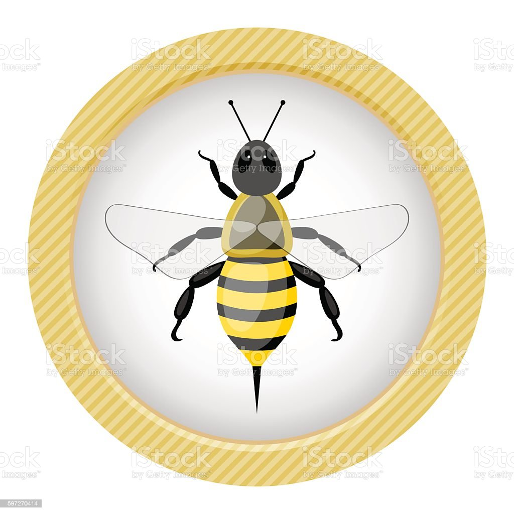 Bee colorful icon royalty-free bee colorful icon stock vector art & more images of animal