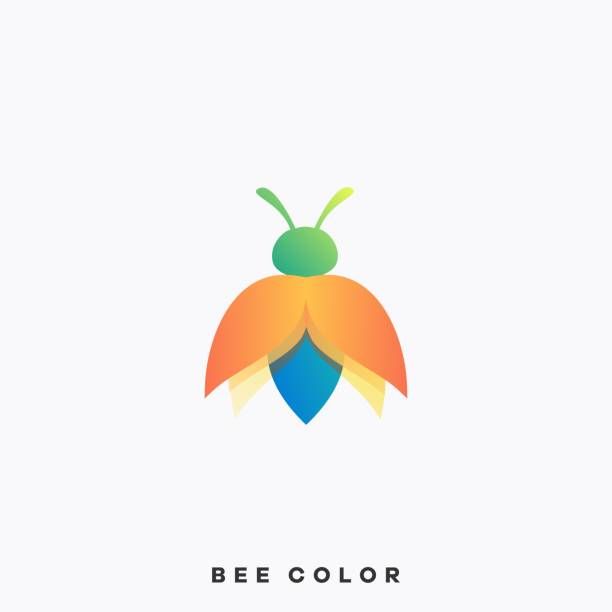 Bee Colorful Illustration Vector Design Template Bee Colorful Illustration Vector Design Template. Suitable for Creative Industry, Multimedia, entertainment, Educations, Shop, and any related business. arthropod stock illustrations