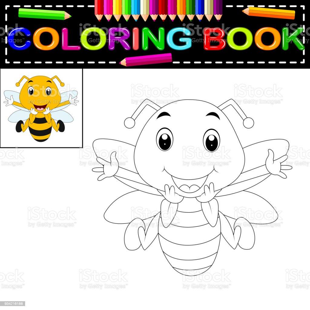 Arı Boyama Kitabı Stok Vektör Sanatı Aktivitenin Daha