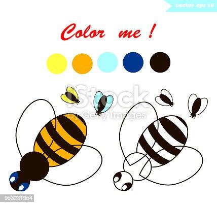 Ilustración de Página Para Colorear De Abeja y más banco de imágenes ...