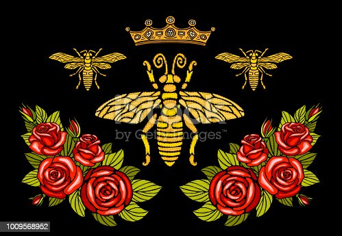 Bee crown flowers embroidery patch roses red. Wasp honey bee bumblebee floral leaf wings Insect embroidery  t shirt fashion. Hand drawn vector illustration