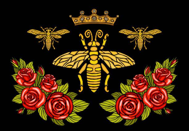 蜂クラウン花刺繍パッチ。蜂蜜蜂マルハナバチ花葉昆虫刺繍。手描きの背景イラスト - 花のボーダー点のイラスト素材/クリップアート素材/マンガ素材/アイコン素材