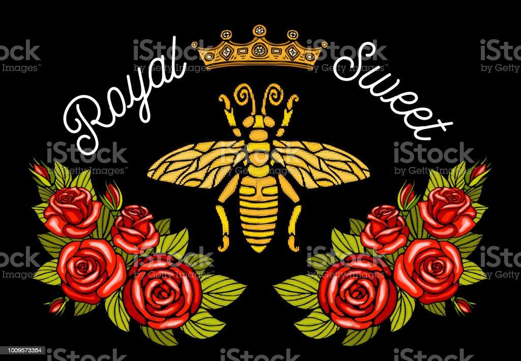 蜂クラウン花刺繍パッチ。蜂蜜蜂マルハナバチ花葉昆虫刺繍。手描きの背景イラスト ベクターアートイラスト