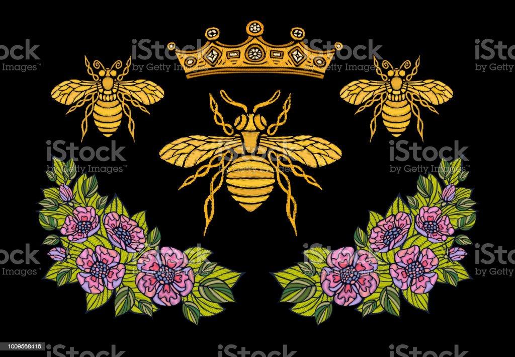蜂クラウン花刺繍 patsh。蜂蜜蜂マルハナバチ花葉昆虫刺繍。手描きの背景イラスト ベクターアートイラスト