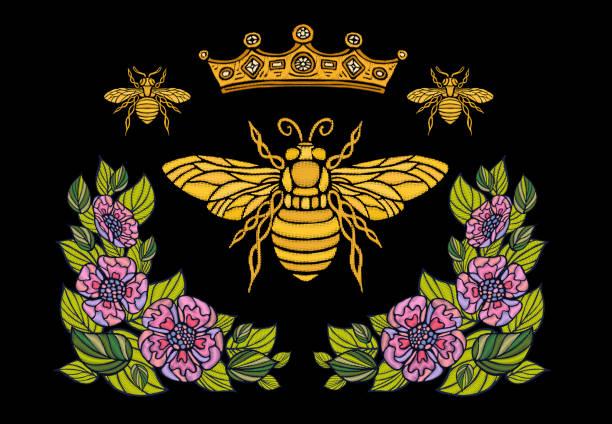 蜂クラウン花刺繍 patsh。蜂蜜蜂マルハナバチ花葉昆虫刺繍。手描きの背景イラスト - 花のボーダー点のイラスト素材/クリップアート素材/マンガ素材/アイコン素材
