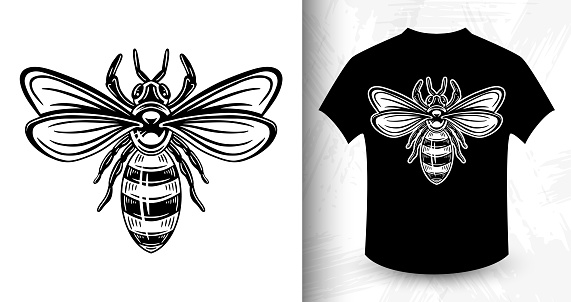 Bee. Design idea for t-shirt print.
