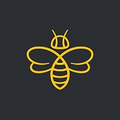 Bee or wasp design vector illustration. Stylish minimal line icon.
