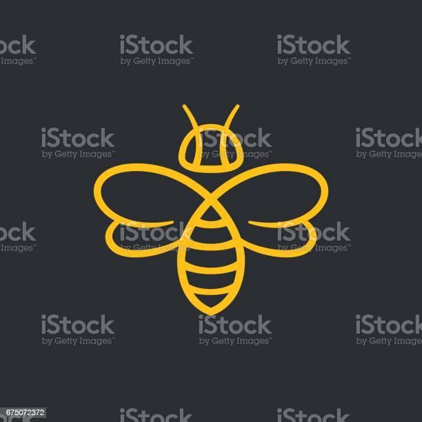 Bee or wasp design vector illustration. Stylish minimal line icon.