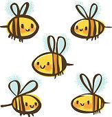 Set of Bees Doodles