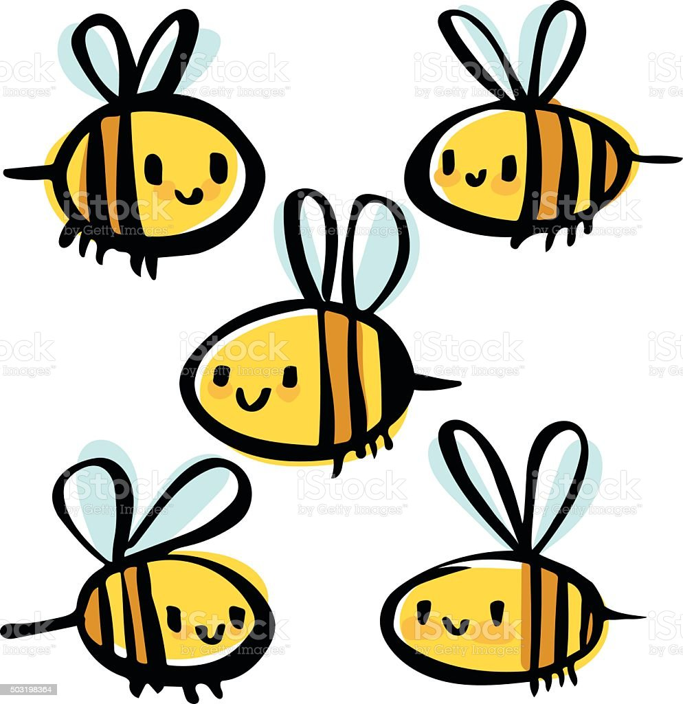 Bee Doodles vector art illustration