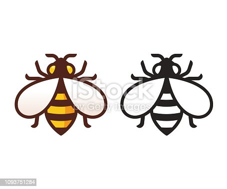 Bee icon in color and black and white. Simple, modern vector symbol. Isolated honeybee illustration.