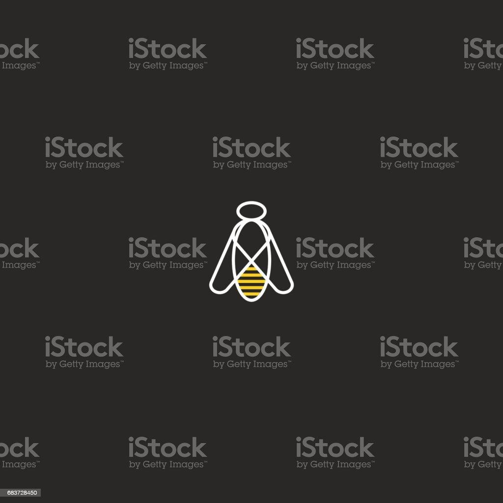 Abeille emblème maquette hipster linéaire style géométrique. Modèle d'élément simple silhouette lineart insectes conception, lignes monogram style noir et blanc. Icône de bourdon. - Illustration vectorielle
