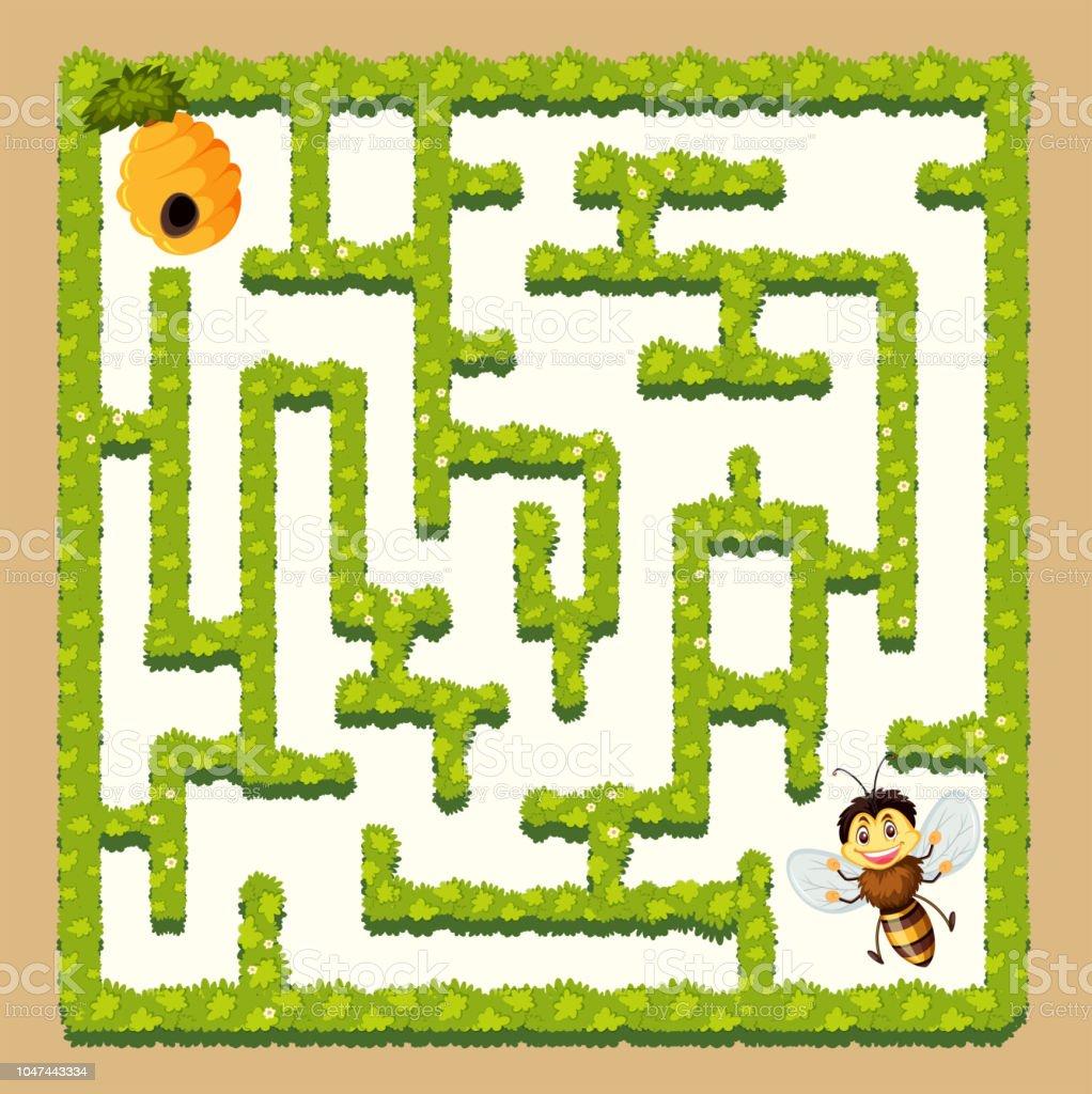 Biene, Honig-Labyrinth-Spiel finden – Vektorgrafik