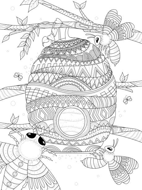 bee flies around honeycomb bee flies around honeycomb - adult coloring page coloring book pages templates stock illustrations