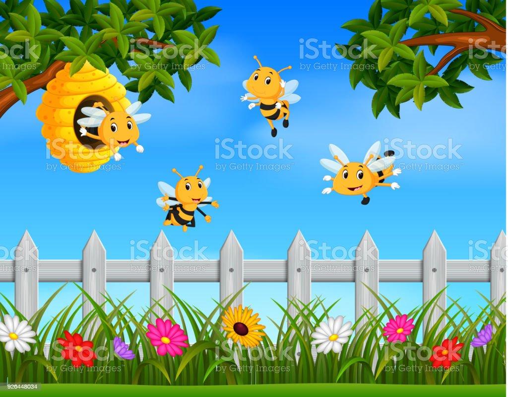 Ein Bienenstock Im Garten Herumfliegen Biene Stock Vektor Art Und