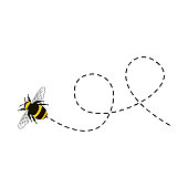 istock Bee flying on a dotted route isolated 1215469127