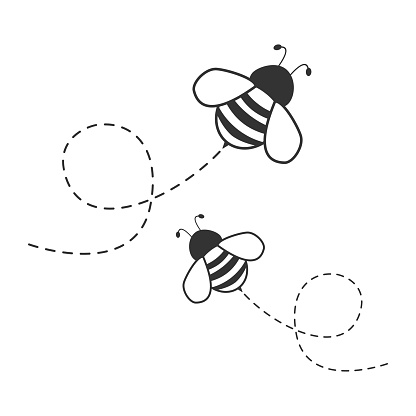 Bee flying on a dotted route.