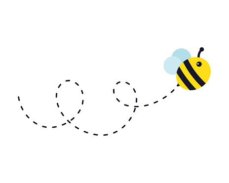 Bee flying path. A bee flying in a dotted line The flight path of a bee to honey.