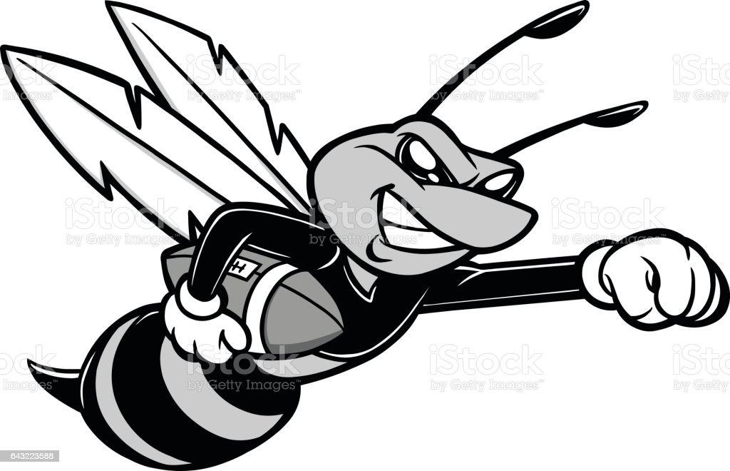 蜂のサッカー マスコット イラスト アメリカンフットボールのベクター