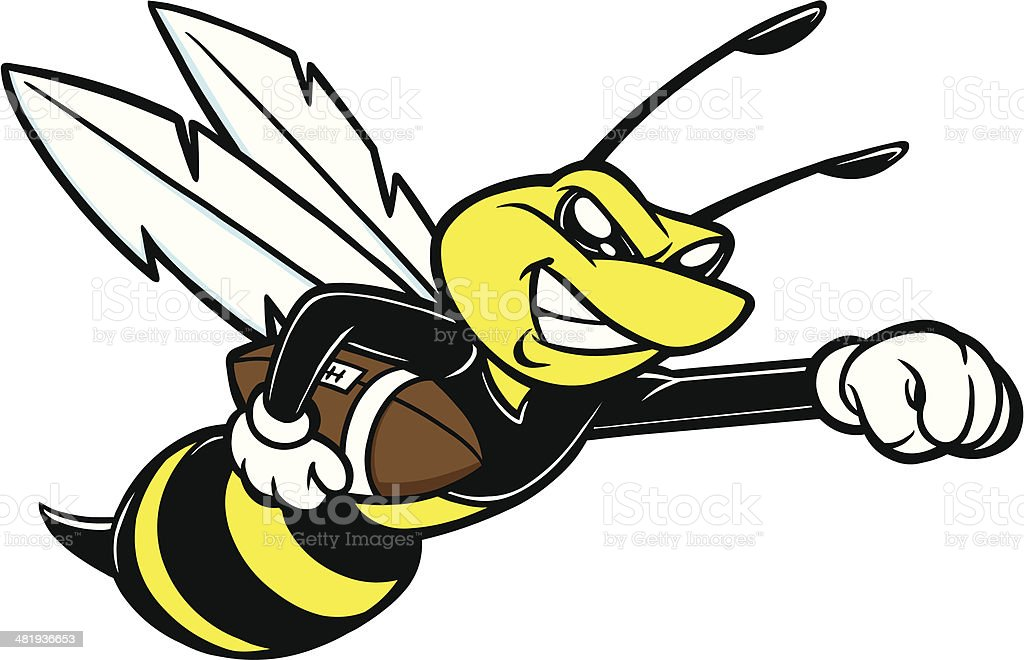 Bee Football Mascot vector art illustration