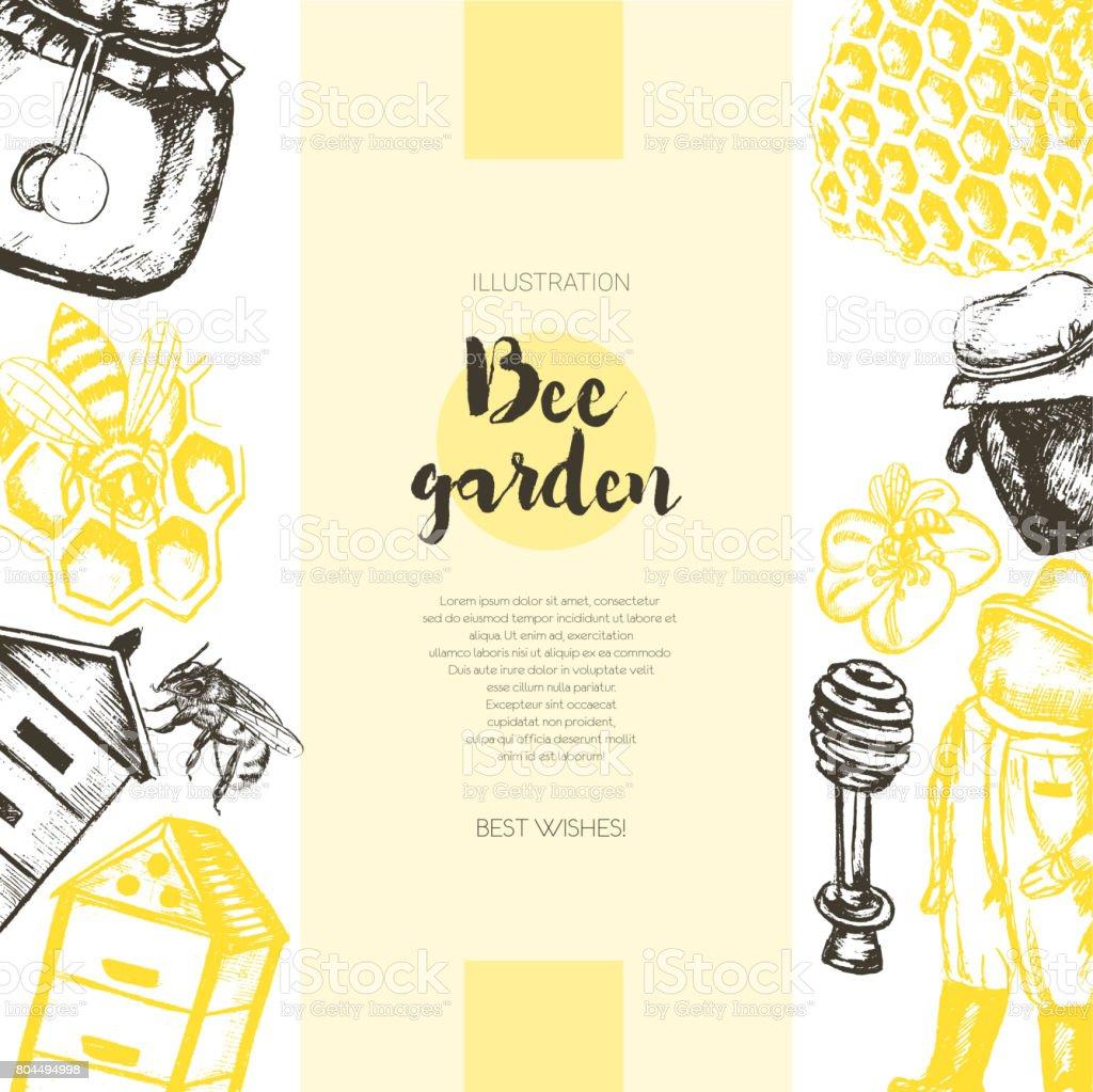 Bee Garden - modèle dessiné bannière vintage de couleur. - Illustration vectorielle