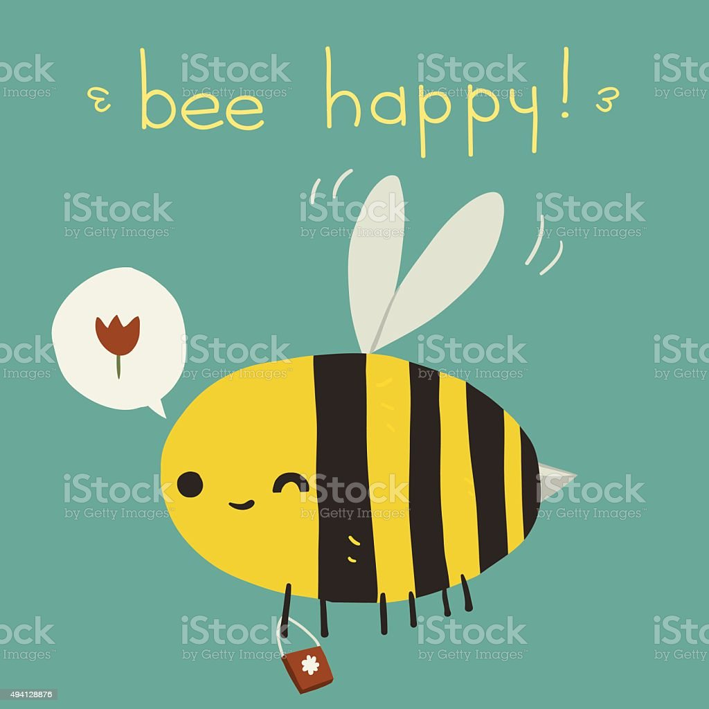 Bee happy postcard icon. vector art illustration