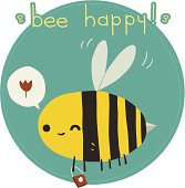 The vector greeting card with funny bee.