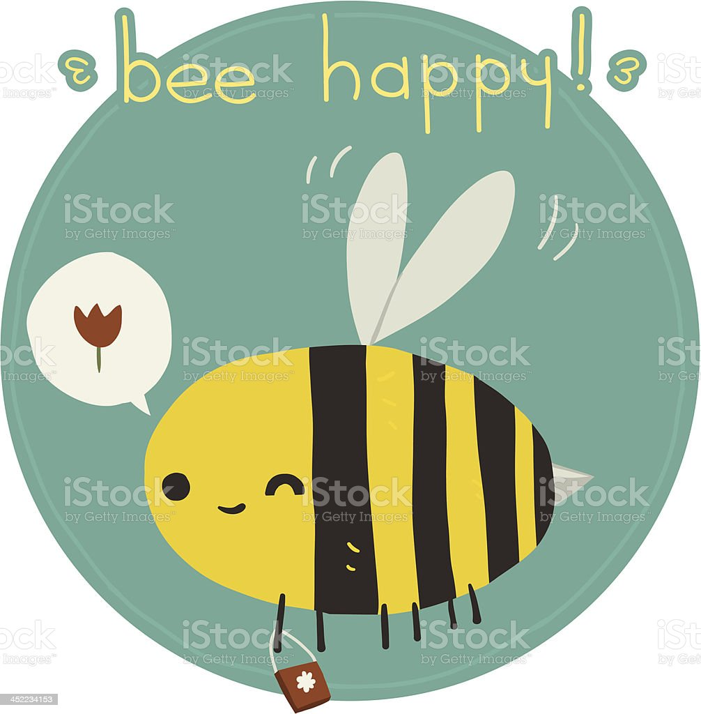 Bee happy postcard vector art illustration