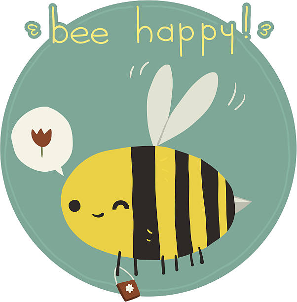 Bee happy postcard vector art illustration