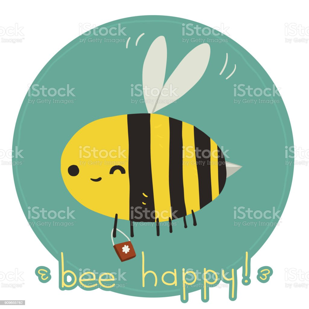Bee happy postcard. vector art illustration